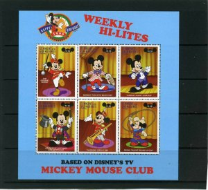 ST.VINCENT 1998 DISNEY HI-LITES FROM MICKEY MOUSE SHEET OF 6 STAMPS MNH