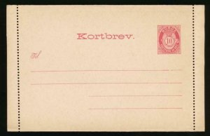 NORWAY Mi. K2 II POSTAL STATIONERY LETTER CARD AFSENDER 10o CARMINE