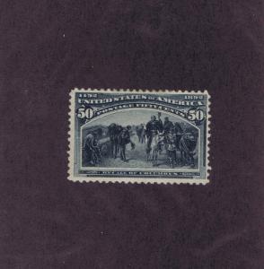 SCOTT# 240 UNUSED OG H 50c RECALL OF COLUMBUS, 1893, FINE VERY FINE