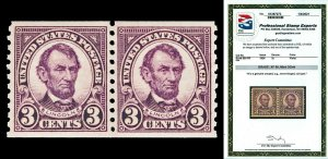 Scott 600 1924 3c Lincoln Coil Issue Mint Pair Graded XF 90 NH with PSE CERT!