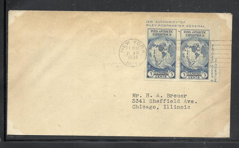 US #735a Byrd Expedition No cachet addressed