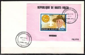 Burkina Faso, Scott cat. 322. Scout Baden Powell s/sheet. First day cover.