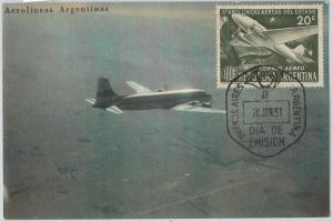 59121  -  ARGENTINA - POSTAL HISTORY: FDC MAXIMUM CARD 1951 - AVIATION Airplanes