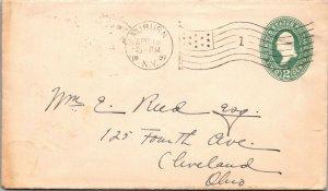 Auburn NY > Cleveland OH 1897 2¢ postal stationery cover