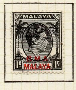 Malaya Straights Settlements 1945 Early Shade of Used 1c. BMA Optd 307947
