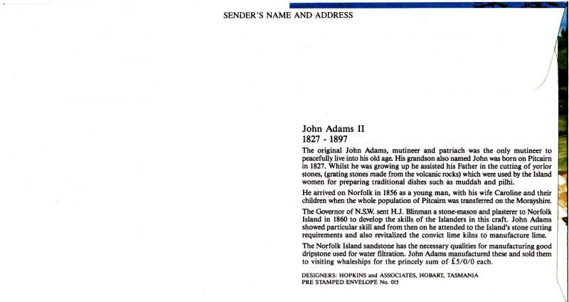 Norfolk Island NSL FDC John Adams II, Postal Stationary