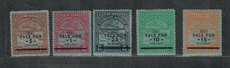Venezuela Sc#c41-c45 M/H/VF, Cv. $36