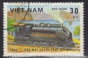 VIETNAM SC# 1254 USED  30xu 1983  TRAIN SEE SCAN