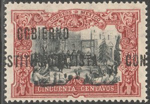 MEXICO 431Var, 50¢ With $ Revolutionary overprint SHIFTED MINT, NH. VF.