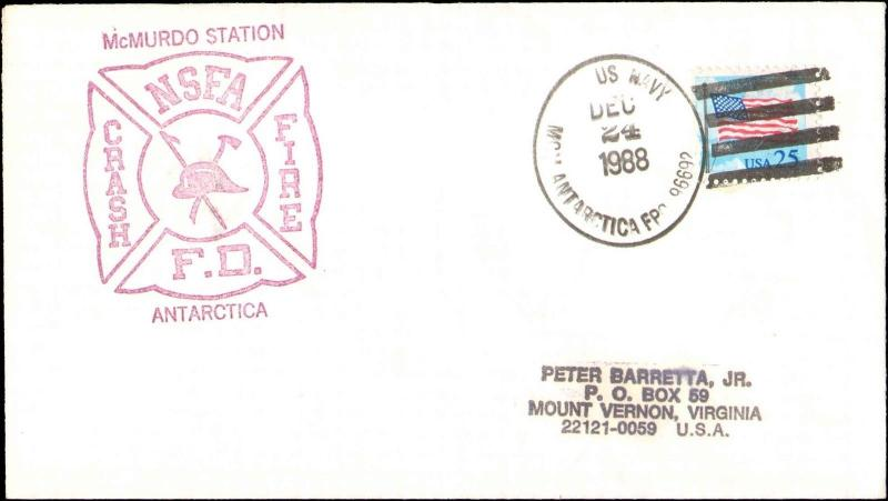 1988 US NAVY ANTARCTIC CACHET FOR FIRE DEPARTMENT