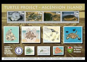 ASCENSION - 2000 - TURTLES - TURTLE PROJECT - CHILDREN'S DRAWINGS ++ MNH SHEET!