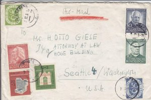 1953, Germany to Seattle, WA, Used Semi-Postals, MI #132,138, 171-172 (27888)