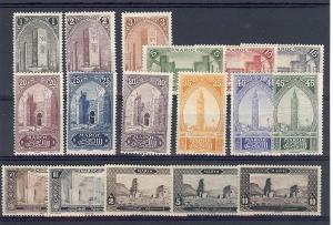 French Morocco, 55-71, Various Designs Singles,**Hinged**