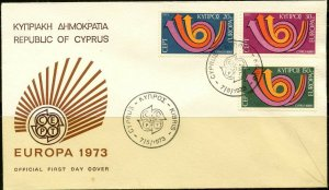CYPRUS Sc#396-398 FDC 1973 Europa Complete Set VF