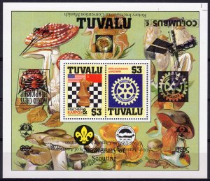 Tuvalu 1986  500th.Ann.Disc.America-SPACE S/S INVERTED ovpt.1986  MNH