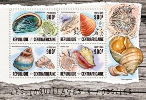 CENTRAFRICAINE 2016 SHEET FOSSILS SEASHELLS SHELLS MARINE LIFE