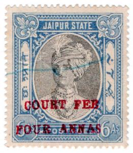 (I.B) India (Princely States) Revenue : Jaipur Court Fee 4a on 6a OP