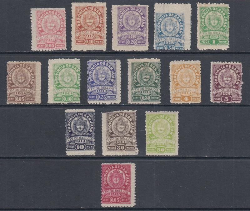 Argentina, San Juan, 1913-1915 Municipal Tax Fiscals, 15 different