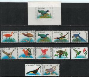 Surinam 1985-1995 SC 724-735,725a Birds MNH Set SCV $168.00
