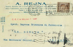 93181 - ITALY - POSTAL HISTORY - PERFIN stamp on CARD: A Rejna AUTOMOBILE 1927