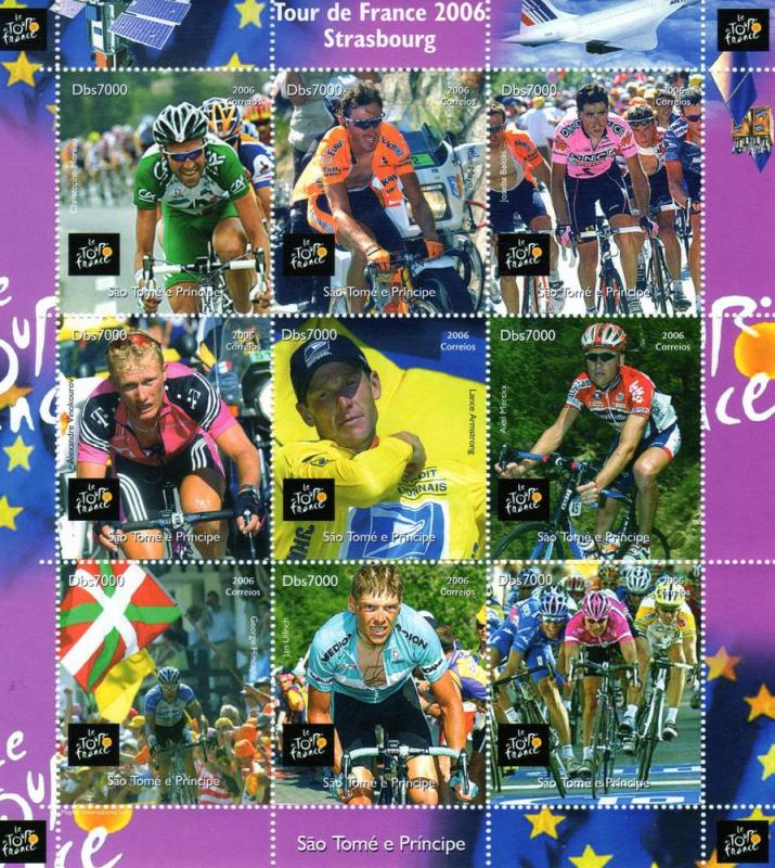 Sao Tome & Principe 2006 TOUR DE FRANCE CYCLING Sheet Perforated Mint (NH)