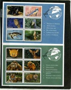 ANGOLA 1999 Sc#1063-1064 FAUNA WILDLIFE 2 SHEETS OF 6 STAMPS MNH