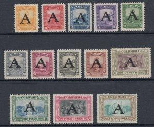 Colombia 1950 AVIANCA Large 'A' Overprint Complete Set LM Mint. Scott C186-C198