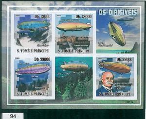 Sao Tome e Principe 2009, IMPERF SHEET: Ferdinand Von Zeppelin, Aircrafts
