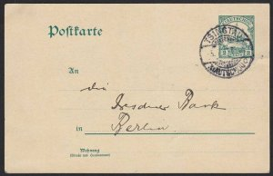 CHINA GERMAN PO KIAUTSCHOU 1913 2c postcard used TSINGTAU...................H346