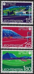 LIECHTENSTEIN 1982 WORLD CUP SOCCER Set Sc 737-739 MNH