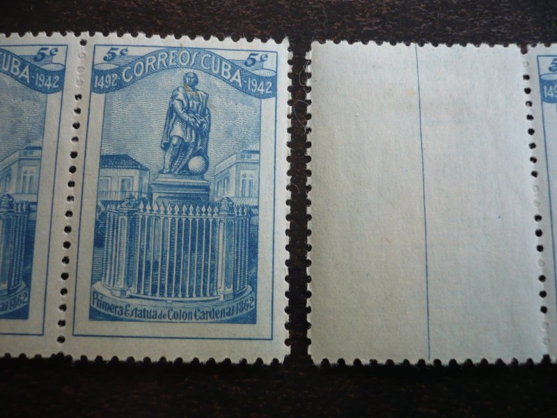 Stamps - Cuba - Scott# 389 - Mint Hinged Gutter Strip of 4 Stamps