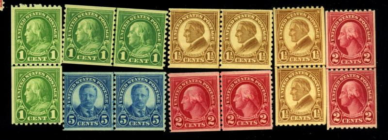 597-99 602 4-6 MINT Line Pairs F-VF OG 598 605 NH Rest LH Cat$37.25