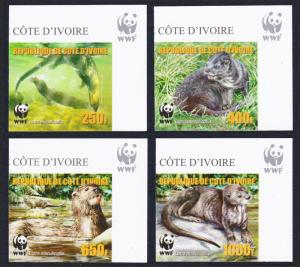 Ivory Coast WWF Speckle-throated Otter 4v Reprint Top Right Corners