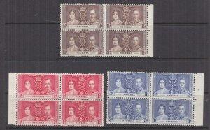 NIGERIA, 1937 Coronation set of 3, marginal blocks of 4, mnh.