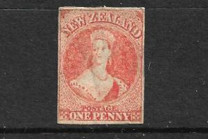 NEW ZEALAND 1862-64 1d CARMINE VERMILLION  FFQ  IMPERF MH  CP A1E4  SG 35 CHALON