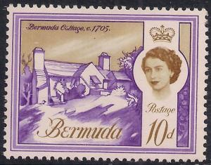Bermuda 1962 - 68 QE2 10d Bermuda Cottage Umm SG 170a ( J1341 )