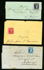 Greece Stamps Collection of 3 Classic Hermes Head Covers All Clean Unsearched VF