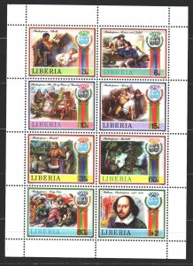 Liberia. 1987. Small sheet 1366-73. Shakespeare, the characters of Shakespear...