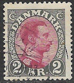 DENMARK 1913-28 2kr Gray and Claret King Christian X Portrait Issue Sc 129 VFU