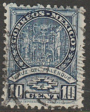 MEXICO 711, 10¢ PALENQUE CROSS 1934 DEFINITIVE, USED. VF. (530)