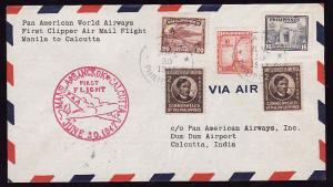 #12782-Philippines June 30 1947-first flight Pan-Am from Man
