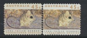 Australia SG 1331  Used pair different phosphors  perf 11½ Threatened Specie...
