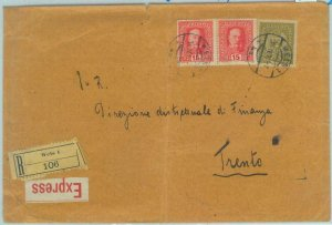 84041 -  AUSTRIA  - POSTAL HISTORY -  Large EXPRESS COVER  to TRENTO 1917