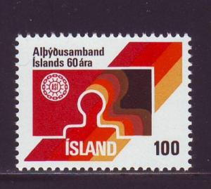 Iceland Sc 495 1976 Labour Federation stamp mnt NH