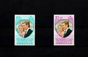 ANGUILLA - 1973 - ROYAL WEDDING - ANNE + MARK 2 X MINT - MNH SET!