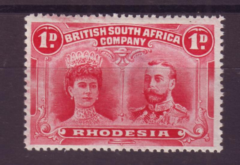 J17081 JLstamps 1910 rhodesia mh #102 hinge thinned king and queen