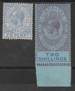 GIBRALTAR 1921 KGV 21/2D AND 2/- */** WMK MULTI CROWN CA