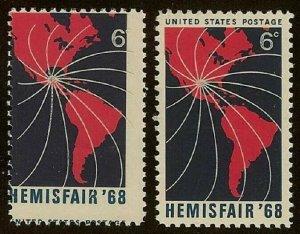 1340 Huge Multiple Color Shift Error / EFO HEMISFAIR 68 Mint NH