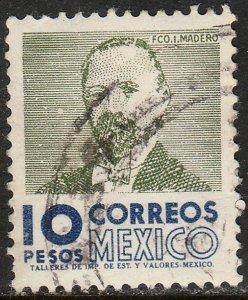 MEXICO 1101, $10 1950 Defin 9th Issue Unwmkd Fosfo Glazed. USED. F-VF. (1453)