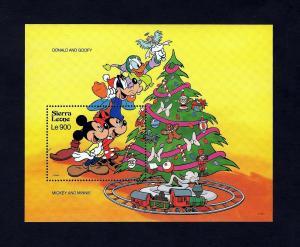 SIERRA LEONE - 1992 - DISNEY - CHRISTMAS - MICKEY - MINNIE - TRAIN ++ MINT S/S!
